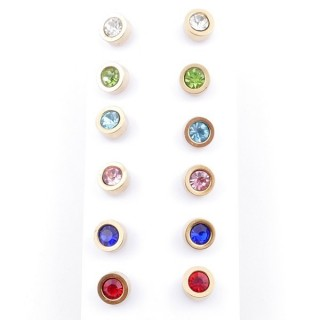49148 PACK OF 6 PAIRS OF 6 MM DIAMETER GOLDEN STEEL EARRINGS WITH MULTI-COLOURED GLASS STONES