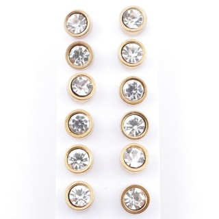 49149 PACK OF 6 PAIRS OF 8 MM DIAMETER GOLDEN STEEL EARRINGS WITH GLASS STONES