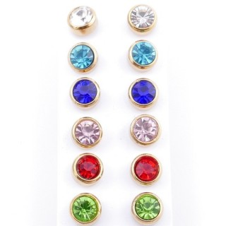 49150 PACK OF 6 PAIRS OF 8 MM DIAMETER GOLDEN STEEL EARRINGS WITH MULTI-COLOURED GLASS STONES