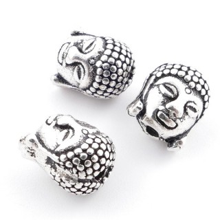 33189 PACK OF 3 SOLID SILVER 10 X 8 MM BUDDHA BEADS