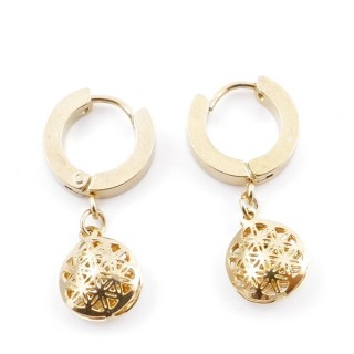 49070-01 GOLD STAINLESS STEEL 14 X 3.5 MM LOOP EARRINGS WITH CHARM