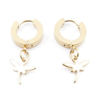 49070-02 GOLD STAINLESS STEEL 14 X 3.5 MM LOOP EARRINGS WITH CHARM