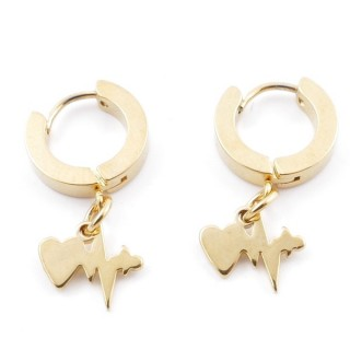49070-03 GOLD STAINLESS STEEL 14 X 3.5 MM LOOP EARRINGS WITH CHARM