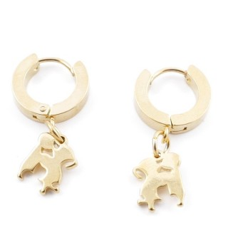 49070-04 GOLD STAINLESS STEEL 14 X 3.5 MM LOOP EARRINGS WITH CHARM