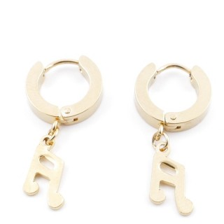 49070-05 GOLD STAINLESS STEEL 14 X 3.5 MM LOOP EARRINGS WITH CHARM
