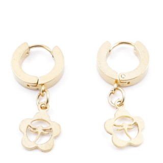 49070-08 GOLD STAINLESS STEEL 14 X 3.5 MM LOOP EARRINGS WITH CHARM