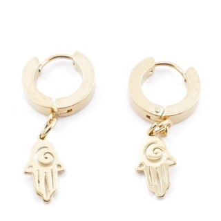 49070-10 GOLD STAINLESS STEEL 14 X 3.5 MM LOOP EARRINGS WITH CHARM