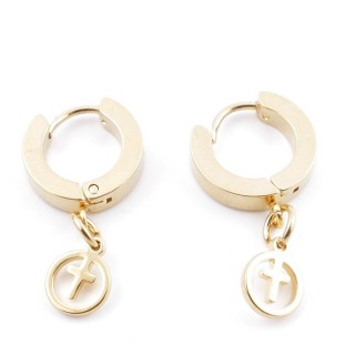 49070-12 GOLD STAINLESS STEEL 14 X 3.5 MM LOOP EARRINGS WITH CHARM
