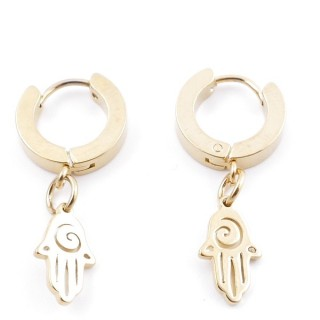 49070-13 GOLD STAINLESS STEEL 14 X 3.5 MM LOOP EARRINGS WITH CHARM