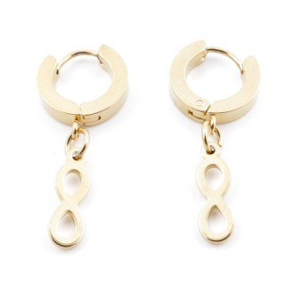 49070-14 GOLD STAINLESS STEEL 14 X 3.5 MM LOOP EARRINGS WITH CHARM