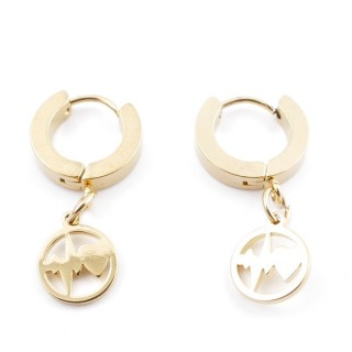 49070-16 GOLD STAINLESS STEEL 14 X 3.5 MM LOOP EARRINGS WITH CHARM