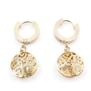49070-17 GOLD STAINLESS STEEL 14 X 3.5 MM LOOP EARRINGS WITH CHARM