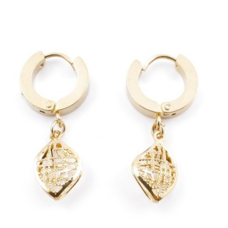 49070-18 GOLD STAINLESS STEEL 14 X 3.5 MM LOOP EARRINGS WITH CHARM