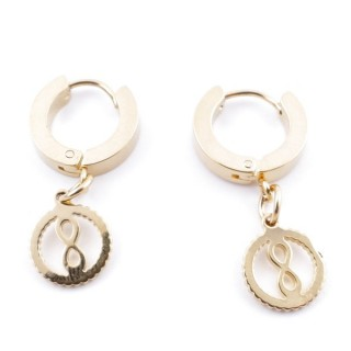 49070-19 GOLD STAINLESS STEEL 14 X 3.5 MM LOOP EARRINGS WITH CHARM