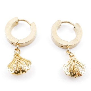 49070-20 GOLD STAINLESS STEEL 14 X 3.5 MM LOOP EARRINGS WITH CHARM