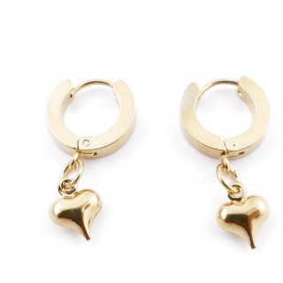 49070-21 GOLD STAINLESS STEEL 14 X 3.5 MM LOOP EARRINGS WITH CHARM