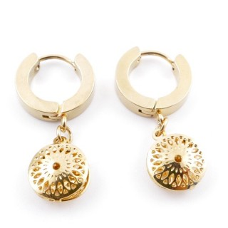 49070-22 GOLD STAINLESS STEEL 14 X 3.5 MM LOOP EARRINGS WITH CHARM