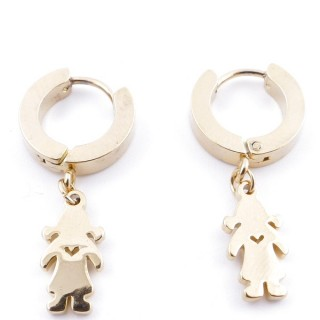 49070-23 GOLD STAINLESS STEEL 14 X 3.5 MM LOOP EARRINGS WITH CHARM