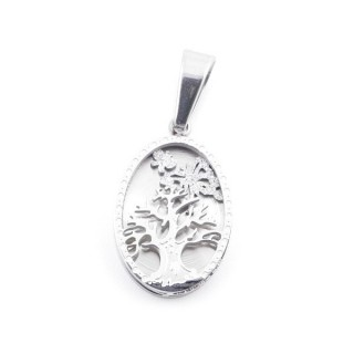 49092 STAINLESS STEEL 19 X 12 MM OVAL PENDANT WITH TREE SYMBOL