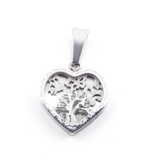 49093 STAINLESS STEEL 13 X 12 MM HEART PENDANT WITH TREE SYMBOL
