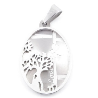 49094 STAINLESS STEEL 34 X 22 MM OVAL PENDANT WITH TREE SYMBOL