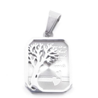 49095 STAINLESS STEEL 25 X 17 MM RECTANGULAR PENDANT WITH TREE SYMBOL