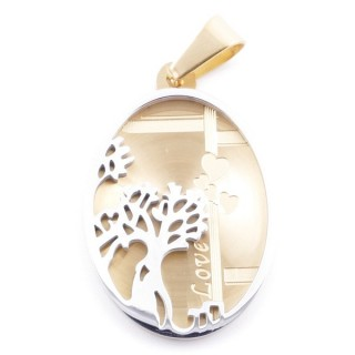 49096 STAINLESS STEEL 34 X 22 MM OVAL PENDANT WITH TREE SYMBOL
