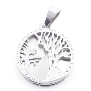 49097 STAINLESS STEEL 25 MM CIRCULAR PENDANT WITH TREE SYMBOL