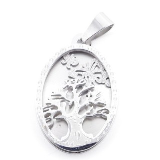 49098 STAINLESS STEEL 34 X 22 MM OVAL PENDANT WITH TREE SYMBOL