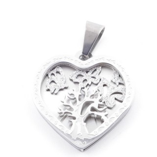 49100 STAINLESS STEEL 26 X 25 MM HEART SHAPED PENDANT WITH TREE SYMBOL