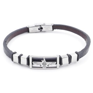 38909-10 STAINLESS STEEL & SYNTHETIC LEATHER ADJUSTABLE LADIES' REVERSIBLE BRACELET