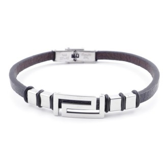 38909-11 STAINLESS STEEL & SYNTHETIC LEATHER ADJUSTABLE LADIES' REVERSIBLE BRACELET