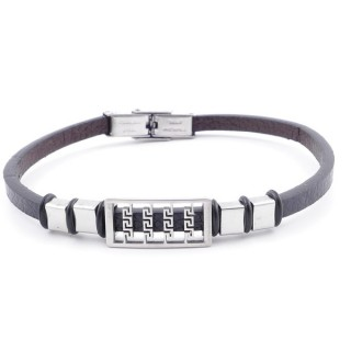38909-12 STAINLESS STEEL & SYNTHETIC LEATHER ADJUSTABLE LADIES' REVERSIBLE BRACELET