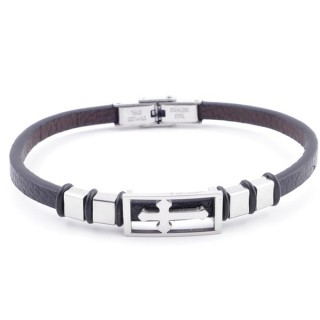 38909-13 STAINLESS STEEL & SYNTHETIC LEATHER ADJUSTABLE LADIES' REVERSIBLE BRACELET