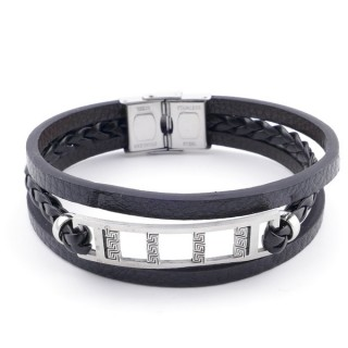 38912-11 STAINLESS STEEL ADJUSTABLE LENGTH SYNTHETIC LEATHER BRACELET