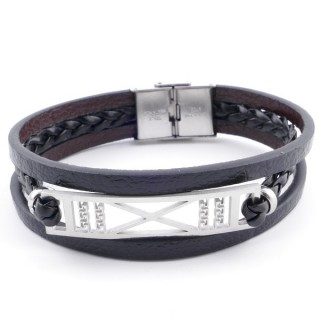 38912-12 STAINLESS STEEL ADJUSTABLE LENGTH SYNTHETIC LEATHER BRACELET