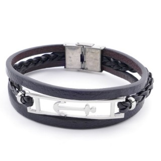 38912-13 STAINLESS STEEL ADJUSTABLE LENGTH SYNTHETIC LEATHER BRACELET
