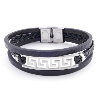 38912-14 STAINLESS STEEL ADJUSTABLE LENGTH SYNTHETIC LEATHER BRACELET