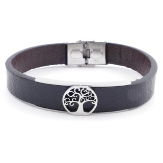 37867-10 ADJUSTABLE & REVERSIBLE STAINLESS STEEL & PU LEATHER MEN'S BRACELET