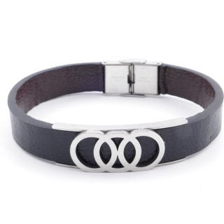 37867-11 ADJUSTABLE & REVERSIBLE STAINLESS STEEL & PU LEATHER MEN'S BRACELET
