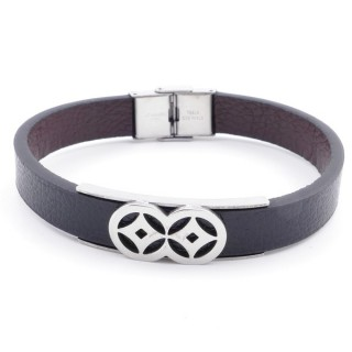 37867-12 ADJUSTABLE & REVERSIBLE STAINLESS STEEL & PU LEATHER MEN'S BRACELET