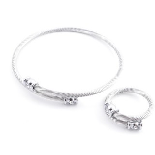 37884-41 SET OF MATCHING STEEL WIRE ADJUSTABLE BRACELET AND RING