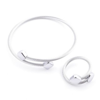 37884-45 SET OF MATCHING STEEL WIRE ADJUSTABLE BRACELET AND RING