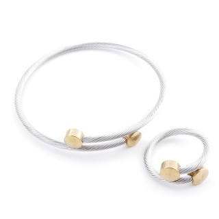 37884-46 SET OF MATCHING STEEL WIRE ADJUSTABLE BRACELET AND RING
