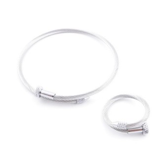 37884-36 SET OF MATCHING STEEL WIRE ADJUSTABLE BRACELET AND RING