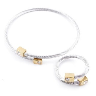 37884-38 SET OF MATCHING STEEL WIRE ADJUSTABLE BRACELET AND RING