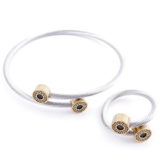 37884-32 SET OF MATCHING STEEL WIRE ADJUSTABLE BRACELET AND RING