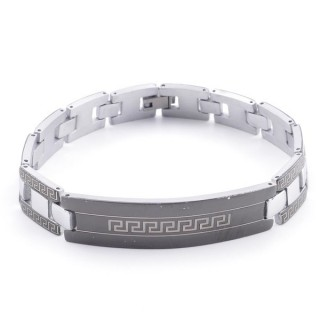 49106-08 ELEGANT STAINLESS STEEL 20 CM LONG BRACELET WITH DESIGN
