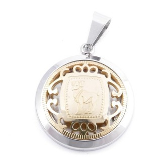 49102-03 STAINLESS STEEL 25 MM PENDANT WITH HOROSCOPE SYMBOL: ARIES