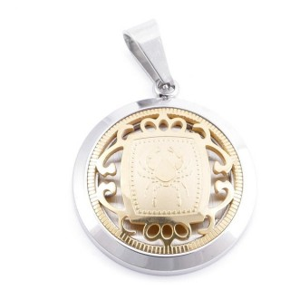 49102-06 STAINLESS STEEL 25 MM PENDANT WITH HOROSCOPE SYMBOL: CANCER